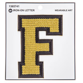 Gold Sequin Iron-On Letter F - 4 3/4""